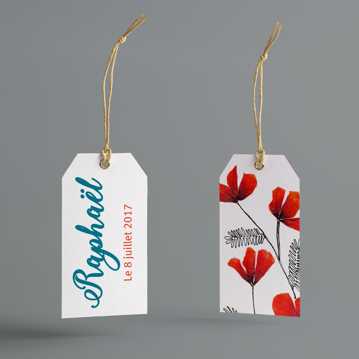 Fleurs Séchées : étiquettes pour boite à dragées naissance