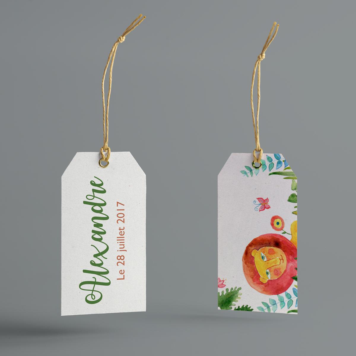 ROI LION : étiquettes pour boite à dragées naissance