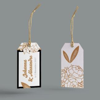 étiquettes boite Fleurs Dorées