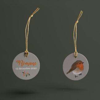 étiquette boite à dragées Oiseau d'Hiver